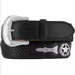 JUSTIN Men's Odessa Star Black Leather Belt - 38
